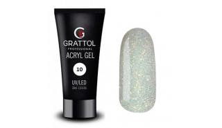 Grattol Acryl Gel Glitter 10 - Акрил-гель c глиттером для моделирования, 30 ml