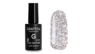 Grattol Color Gel Polish Bright - Silver, светоотражающий гель-лак, 9 ml