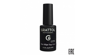 Grattol NO WIPE TOP GEL - Топ без липкого слоя , 9 ml
