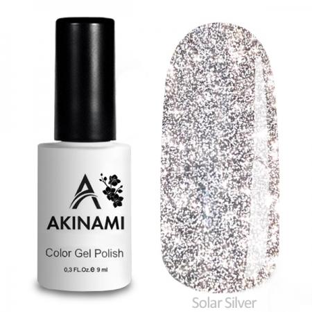 Akinami Color Gel Polish Solar Super Silver, светоотражающий гель-лак, 9 мл