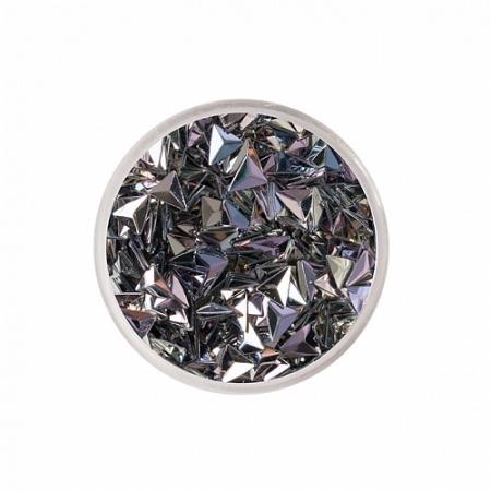 Чешуя Дракона треугольники 3D переливчатые (темное серебро с розоватым) 3 мм Zoo